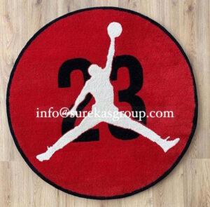 Round custom logo rug