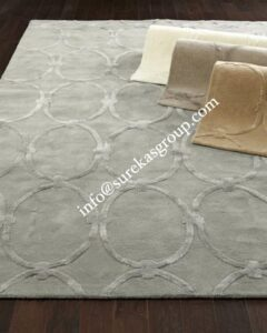Custom area rug in wool and silk